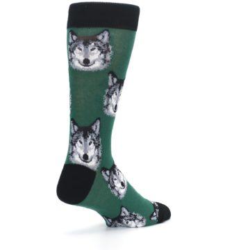 Image of Green Gray Wolf Men's Dress Socks (side-1-back-22)