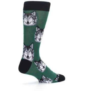 Image of Green Gray Wolf Men's Dress Socks (side-1-23)