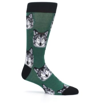 Image of Green Gray Wolf Men's Dress Socks (side-1-25)