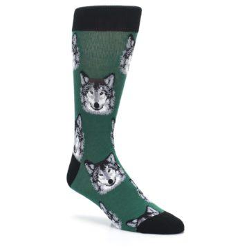 Image of Green Gray Wolf Men's Dress Socks (side-1-27)
