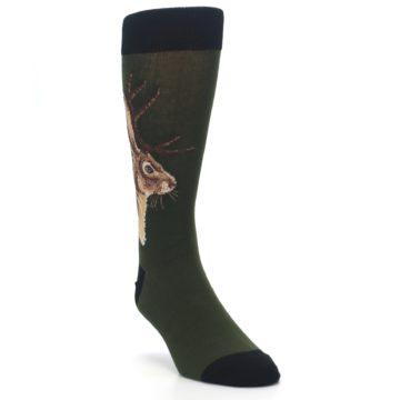 Image of Green Brown Jackalope Men's Dress Socks (side-1-front-02)