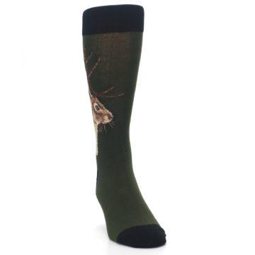 Image of Green Brown Jackalope Men's Dress Socks (side-1-front-03)