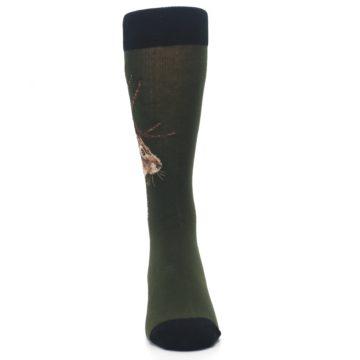 Image of Green Brown Jackalope Men's Dress Socks (front-04)