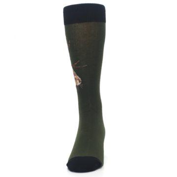 Image of Green Brown Jackalope Men's Dress Socks (front-05)
