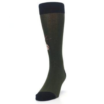 Image of Green Brown Jackalope Men's Dress Socks (side-2-front-06)