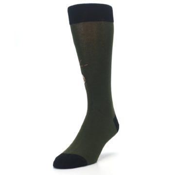Image of Green Brown Jackalope Men's Dress Socks (side-2-front-07)