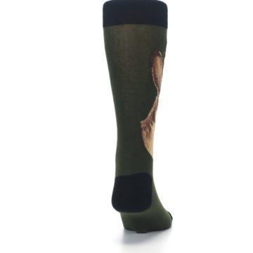Image of Green Brown Jackalope Men's Dress Socks (back-19)