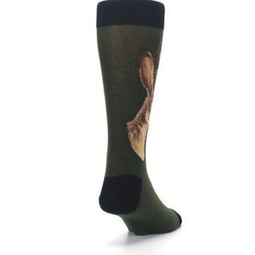 Image of Green Brown Jackalope Men's Dress Socks (side-1-back-20)