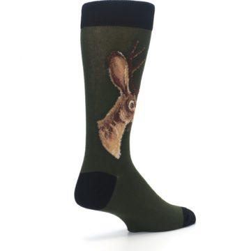 Image of Green Brown Jackalope Men's Dress Socks (side-1-back-22)