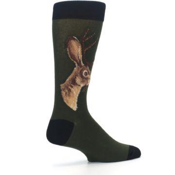 Image of Green Brown Jackalope Men's Dress Socks (side-1-23)