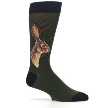 Image of Green Brown Jackalope Men's Dress Socks (side-1-25)