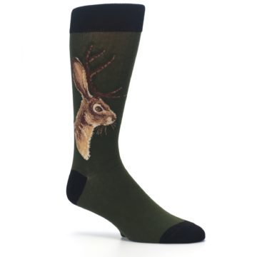 Image of Green Brown Jackalope Men's Dress Socks (side-1-26)