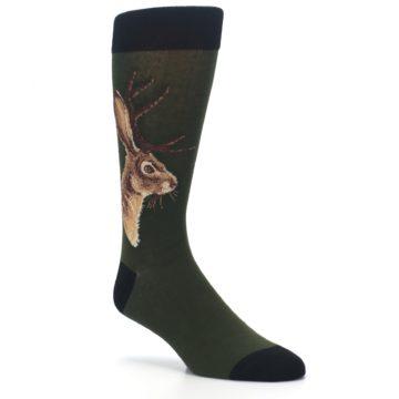 Image of Green Brown Jackalope Men's Dress Socks (side-1-27)