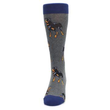 Image of Gray Black Rottweiler Dog Men's Dress Socks (front-05)