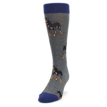Image of Gray Black Rottweiler Dog Men's Dress Socks (side-2-front-06)