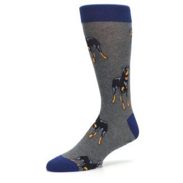 Image of Gray Black Rottweiler Dog Men's Dress Socks (side-2-09)