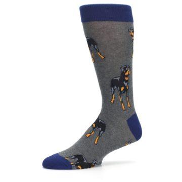 Image of Gray Black Rottweiler Dog Men's Dress Socks (side-2-10)