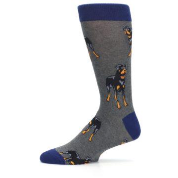 Image of Gray Black Rottweiler Dog Men's Dress Socks (side-2-11)