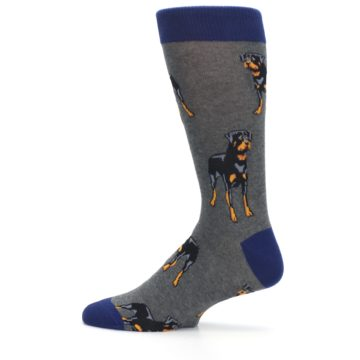 Image of Gray Black Rottweiler Dog Men's Dress Socks (side-2-12)