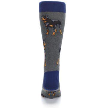 Image of Gray Black Rottweiler Dog Men's Dress Socks (back-18)