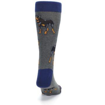 Image of Gray Black Rottweiler Dog Men's Dress Socks (back-19)