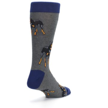 Image of Gray Black Rottweiler Dog Men's Dress Socks (side-1-back-21)