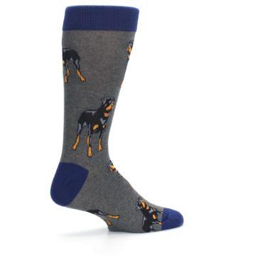 Image of Gray Black Rottweiler Dog Men's Dress Socks (side-1-23)