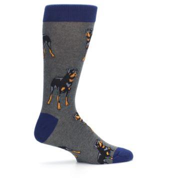 Image of Gray Black Rottweiler Dog Men's Dress Socks (side-1-24)