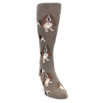 Image of Light Brown Hound Dog Men's Dress Socks (side-1-front-03)