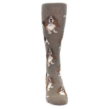 Image of Light Brown Hound Dog Men's Dress Socks (front-04)