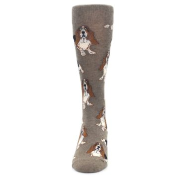 Image of Light Brown Hound Dog Men's Dress Socks (front-05)