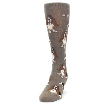 Image of Light Brown Hound Dog Men's Dress Socks (side-2-front-06)