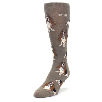 Image of Light Brown Hound Dog Men's Dress Socks (side-2-front-07)