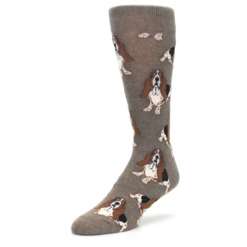 Image of Light Brown Hound Dog Men's Dress Socks (side-2-front-08)