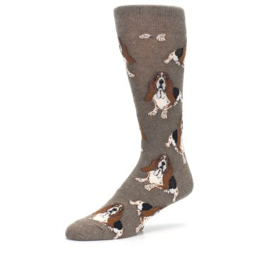 Image of Light Brown Hound Dog Men's Dress Socks (side-2-09)