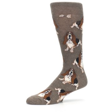 Image of Light Brown Hound Dog Men's Dress Socks (side-2-10)