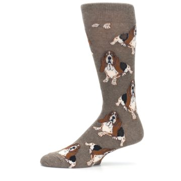 Image of Light Brown Hound Dog Men's Dress Socks (side-2-11)