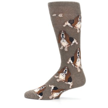 Image of Light Brown Hound Dog Men's Dress Socks (side-2-12)