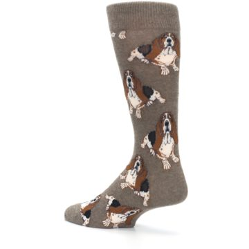 Image of Light Brown Hound Dog Men's Dress Socks (side-2-back-14)
