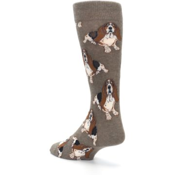 Image of Light Brown Hound Dog Men's Dress Socks (side-2-back-15)