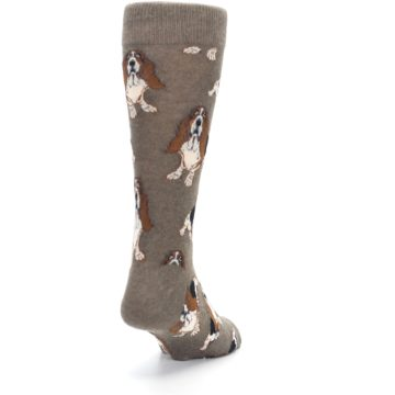 Image of Light Brown Hound Dog Men's Dress Socks (side-1-back-20)