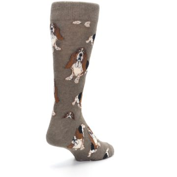 Image of Light Brown Hound Dog Men's Dress Socks (side-1-back-21)