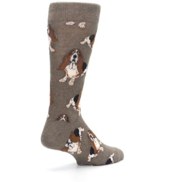 Image of Light Brown Hound Dog Men's Dress Socks (side-1-back-22)