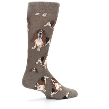 Image of Light Brown Hound Dog Men's Dress Socks (side-1-23)