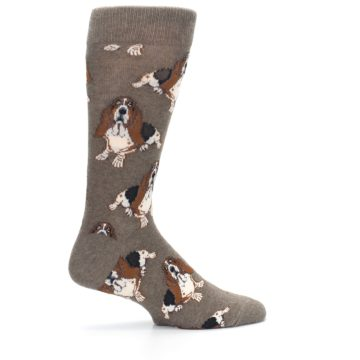 Image of Light Brown Hound Dog Men's Dress Socks (side-1-24)