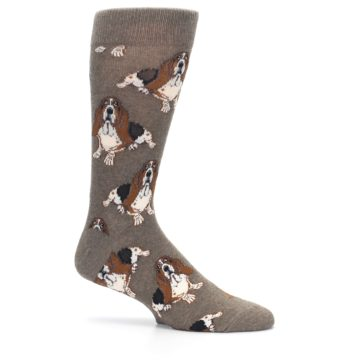 Image of Light Brown Hound Dog Men's Dress Socks (side-1-25)