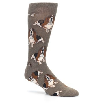 Image of Light Brown Hound Dog Men's Dress Socks (side-1-26)