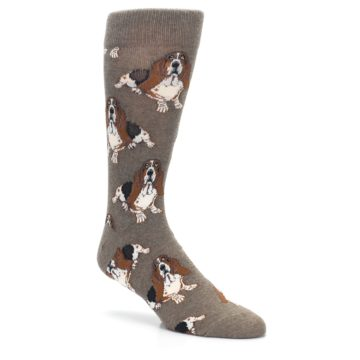 Image of Light Brown Hound Dog Men's Dress Socks (side-1-27)