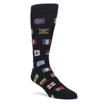 Black-Multi-Flags-of-World-Mens-Dress-Socks-Socksmith