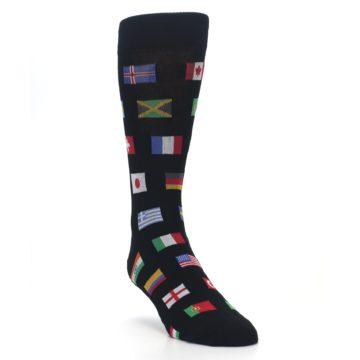 Image of Black Multi Flags of World Men's Dress Socks (side-1-front-02)